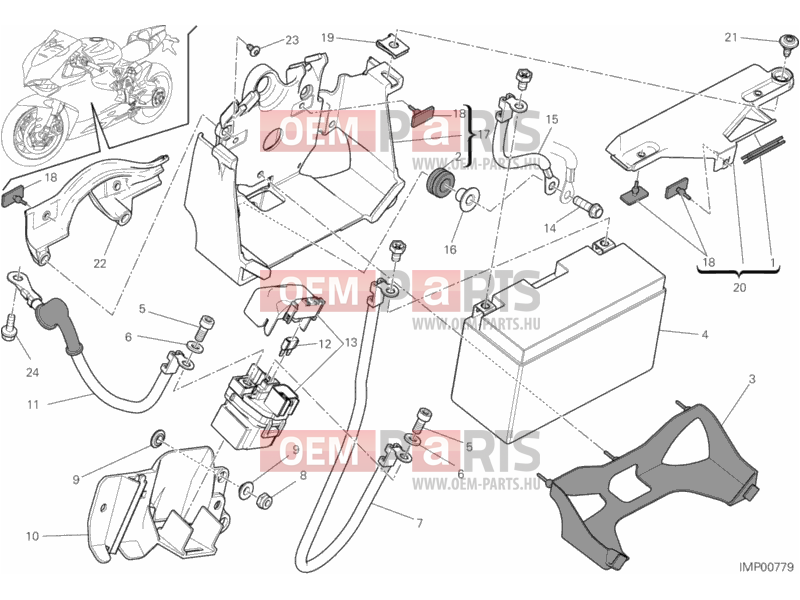 Ducati Superbike 1199 Panigale BATTERY HOLDER » WIRING HARNESS exploded  drawing > oem-parts.huOem-parts.hu